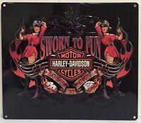 Ande Rooney Harley Davidson Sworn To Fun Babe Pin Up Girl Tin Motorcycle Hd Sign