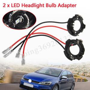 2-x-H7-LED-Scheinwerfer-Lampe-Adapter-Halterung-Halter-fuer-VW-Jetta-Golf-5-alte