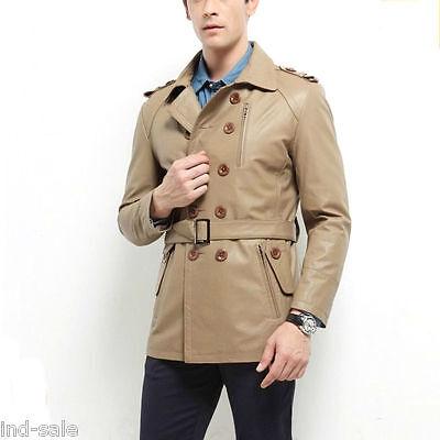 Custom Made All Size Genuine Blazer Lambskin Leather Jacket Pea Coat Belt