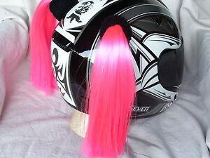 PINK HELMET PIGTAILS / PIG TAILS Pink ..MOTORCYCLE,SKATEBOARD, BIKE or ATV