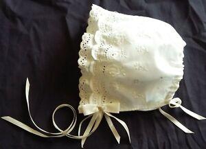 54ebd30da Details about Reborn Girl Ivory Eyelet Cotton Christening/Baptism Bonnet  /Sun Hat Size 0-24 M.