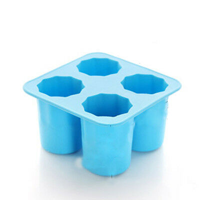4-Cup Ice Cube Shot Shape Rubber Shooters Glass Freeze Mold Maker Tray Party NEW