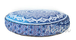 35X6-034-Round-Floor-Pillow-Room-Decorative-Cushion-Cover-Blue-Ombrey-Mandala-Throw