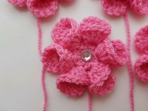 5 Pink Crochet Kanzashi Flowers Granny Squares Blankets Cushions approx 6.5cm