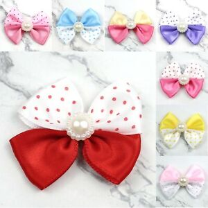 10-20-Pearl-Satin-Ribbon-Bows-Flower-Appliques-sew-Craft-Kid-039-s-Clothes-DIY-Decor