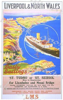 Vintage Style Railway Poster Menai Straits A4//A3//A2 Print