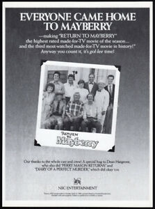 RETURN-TO-MAYBERRY-Original-1986-Trade-AD-TV-promo-ANDY-GRIFFITH-RON-HOWARD