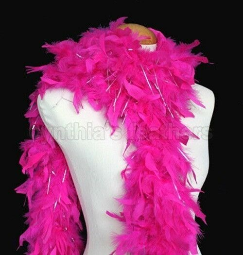 Candy Pink w lurex tinsel 65 Gram Chandelle Feather Boa 6 Feet Long Dancing Wedding Crafting Party  Halloween Costume Decoration 8H31