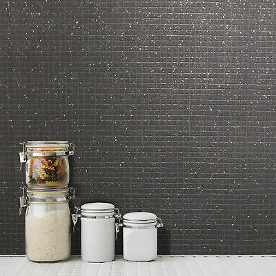 Tile wallpaper mosaic glitter effect black grey kitchen bathroom washable vinyl ebay - Washable wallpaper ...