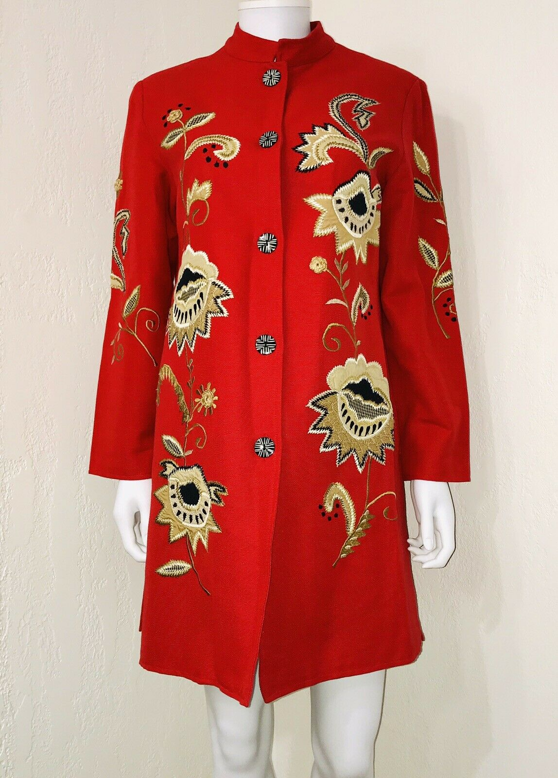 NWOT Indigo Moon Red Floral Embroidered Art To Wear Mandarin Collar Coat Size XS