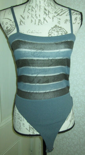 Vtg Giorgio Armani gray & black striped knit tank