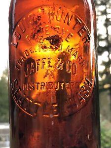 Western, Whiskey Cylinder, Liquor, Amber Fifth,  Seattle, Wash. Jaffe & Co.