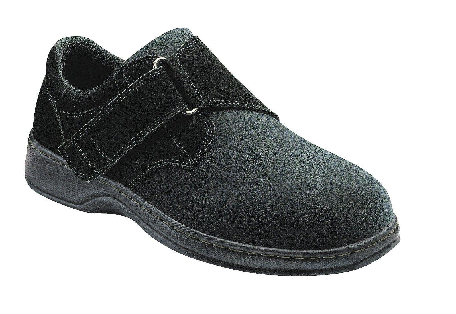 NIB ORTHOFEET Bismarck  525 Hook & Loop Strap Black shoes Men's Size 9 WIDE