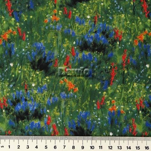 Blumenwiese, blaue, rote, gelbe Blumen, Patchwork, Deko, Stoff, SSI (25x112cm)