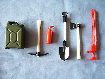 1/10 tool set rc crawler fuel can jack fire extinguisher pick,shovel SCX10 CC01