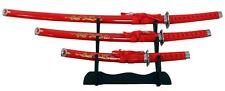 3pc Ninja Red Dragon Samurai Katana Sword Ying Yang Symbol Set With Stand