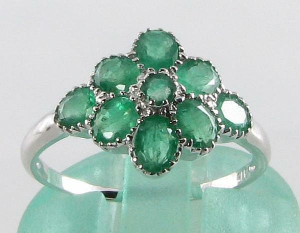 CLASS 9CT 9K WHITE gold COLOMBIAN EMERALD ART DECO INS CLUSTER RING