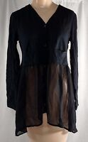 Logo Littles By Lori Goldstein Button Front Cardigan With Chiffon Trim Xl Black