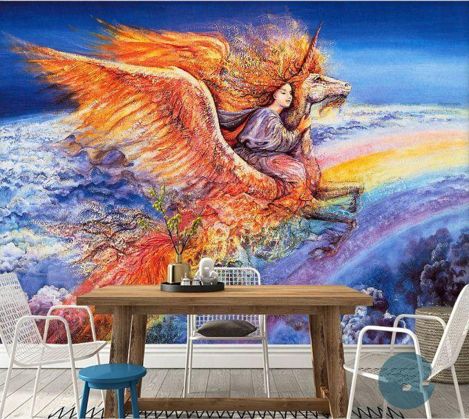 3D Engel Pferd, Himmel 2870 Fototapeten Wandbild Fototapete BildTapete Familie