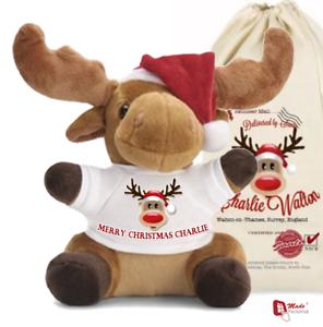 Personnalisé Tout Nom de Santa Sack Noël Renne De Noël Sac Stocking 15