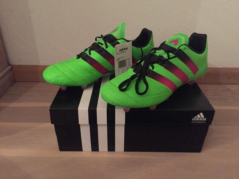 Adidas Ace 16.1 16.1 16.1 FG Lea 45 1 3 US  11 UK  10,5 Neu Grün (wie X 17.1 Nemeziz F50) 9cfaaa