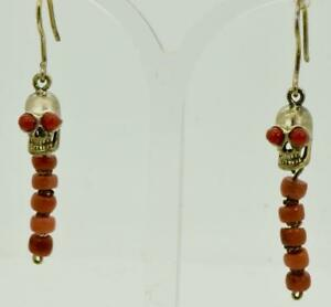 Antique-19th-C-Victorian-Memento-Mori-Skull-gild-silver-amp-Corals-Earrings-set