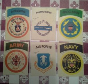 1972-Fleer-Real-Cloth-Patches-lot-6-military-Frogman-Army-Navy-Air-Force-Airborn