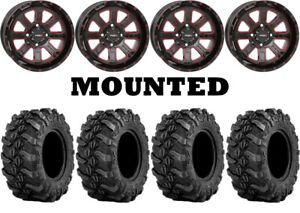 Kit-4-Sedona-Buck-Snort-Tires-27x9-14-on-System-3-ST-4-Red-Wheels-550