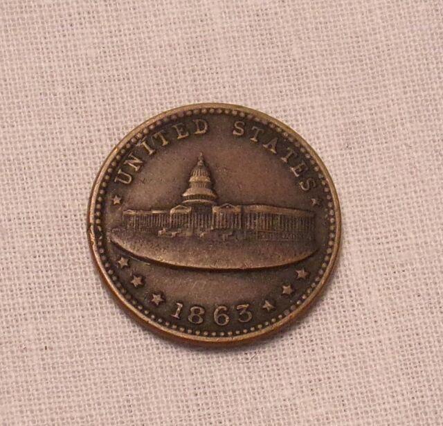 1863 Army Navy US Capital Civil War Token.................Lot #7618