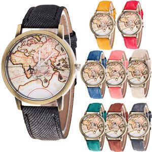 Fashion-Women-039-s-World-Map-Cowboy-Leather-Band-Analog-Quartz-Casual-Wrist-Watch