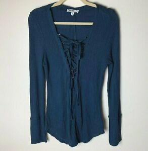 William-Rast-Women-039-s-Top-Size-Large-Waffle-Knit-Tie-Front-Dark-Blue-Long-Sleeves