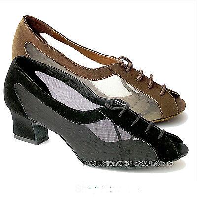 "Women's Ballroom Salsa Latin Practice Nubuck Dance Shoes 1644 Very Fine 2"" Heel"