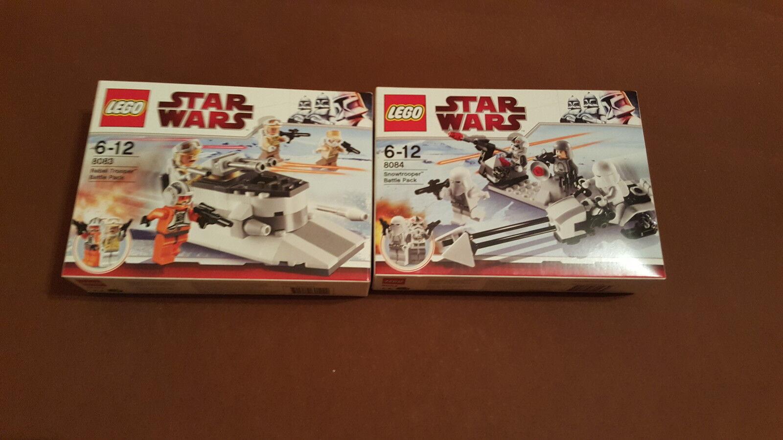 Lego Star Wars 8083 Rebel Trooper Battle Battle Battle Pack + 8084 Snow Trooper Battle Pack 49eef6