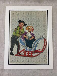 1932-Vintage-Stampa-Olandese-Ragazzo-Girl-Folk-Costume-Slitta-Paesi-Bassi