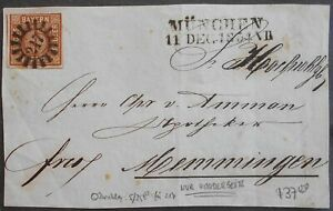 Germany-Bavaria-1854-Cover-Cut-sent-from-Munchen-6Kr-stamp-used