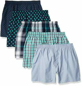 5-pack Mens Lightweight55% Cotton Woven Boxers, Multipack 2XLarge Assorted Navy