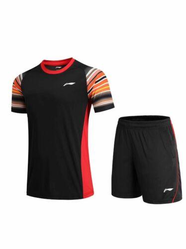 2019 New Li Ning Quick-drying men/'s Tops Table tennis clothes Tee shirts+shorts