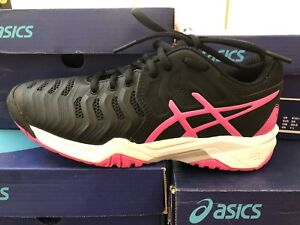 8e0589c004 Details about Asics Gel Resolution 7 GS Tennis Shoes Sneakers Kids Girls  Black/Pink $80