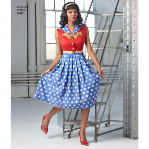 Sz10-18//20W-28W SIMPLICITY 8481 DC Batwoman//Wonder Woman Dress Sewing Pattern