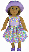 Easter Eggs Pastel Dress + Matching Hat For 18 American Girl Doll Clothes