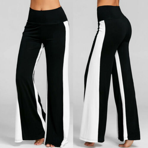 Womens Color Block High Waisted Wide Leg Trousers Loose Casual Bottoms Pants