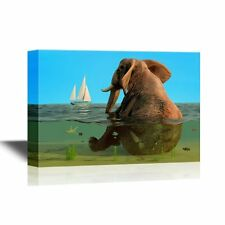 wall26 - Canvas- Cartoon Style Elephant Sitting in the Sea with a Ship -16x24