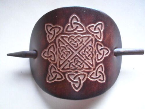 BROWN H3 Barrette Hand Made Celtic Leather Hair Slide in