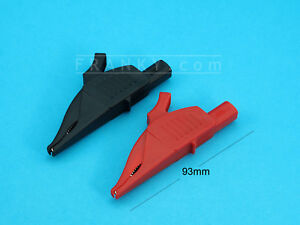 Dolphin-Alligator-Clips-for-4mm-Shrouded-Unshrouded-Plugs-1-Pair-Red-and-Black