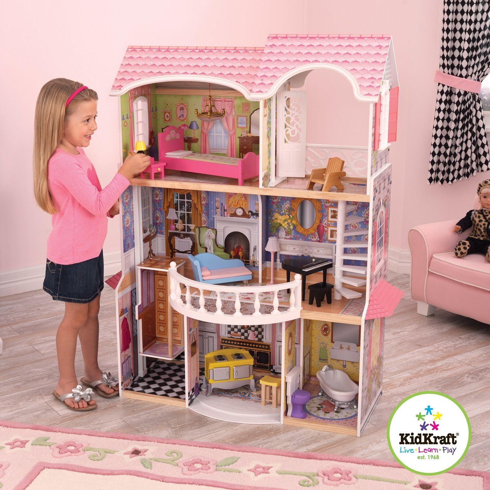 Kidkraft Magnolia Mansion, Casa de Muñecas de Madera con elevación se adapta a muñecas Barbie