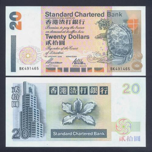 3 Pick 285b UNC HONG KONG 20 Dollars 1996