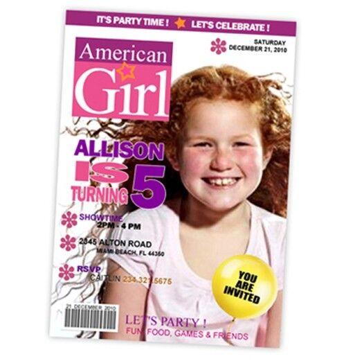 e7a57f48047 American Girl Doll Birthday Party Invitation Photo 1st Customizable Invites  - P1   eBay