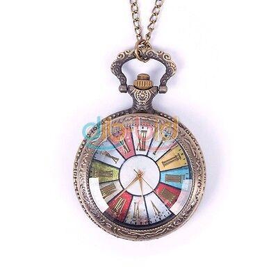 Women Men Vintage Bronze Number Punk Chain Necklace Quartz Pocket Watch