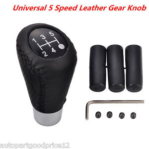 Universal 5 Speed Leather Manual Car Gear Shift Knob Shifter