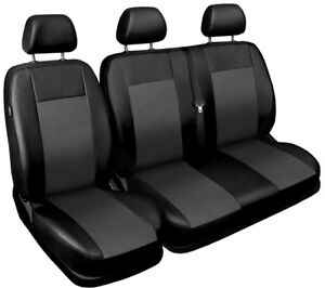 Van-seat-covers-comfort-fit-Volkswagen-Transporter-T5-leatherette-black-grey